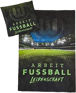 VfL Wolfsburg Bettwäsche Arbeit-Fussball-Leidenschaft Bezug 135x200cm Kissen 80x80cm 100% Baumwolle