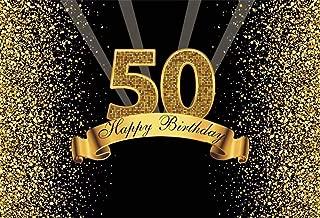 Leowefowa 10x8ft Happy 50th Birthday Backdrop for Photography Golden Glitter Sequins Background Sparkling 50th Birthday Backdrop Woman Man Birthday Party Decoration Portrait Photoshoot Studio Props
