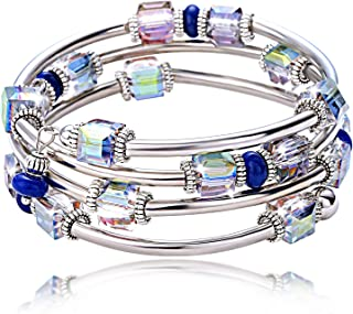 Crystal Wrap Bangle Bracelets for Women - Fashion Boho Strand Bracelet Made with Swarovski Crystals, Bead Bracelets for Girls, Best Friend Best Gifts for Valentine's Day, Birthday, Mother's Day