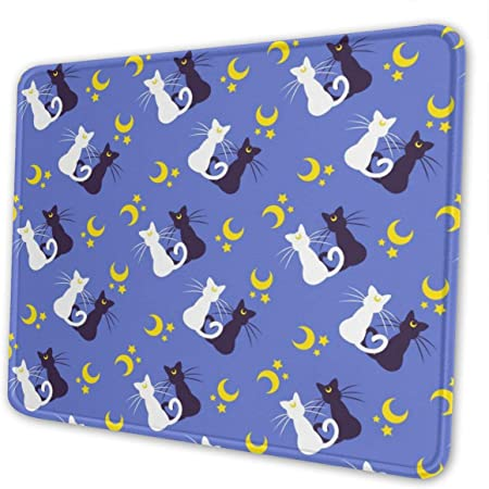 Mouse Pad Sailor Moon Kitties Non-Slip Rubber Base Stitched Edges Gaming Mousepad for Computers Laptop