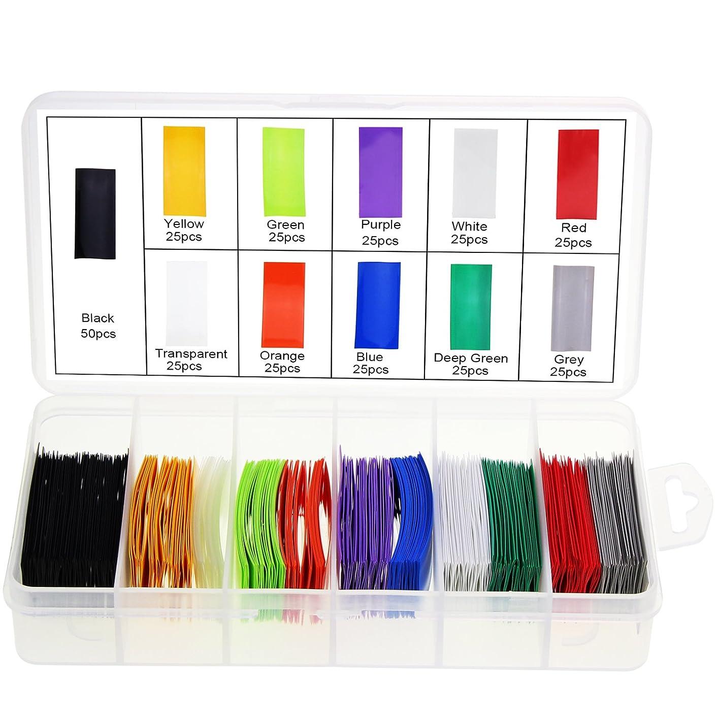Ocr Flat PVC Heat Shrink Tubing Battery Wrap for 1x AA Battery 11 Colors 300PCS (AA Battery 11 Colors)
