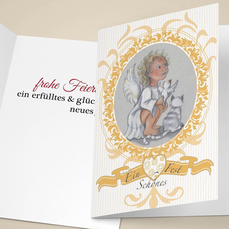 Edle Weihnachtskarten.Drucken Var2 Innentext Ihrem Mit Medaillon In Engel Mit