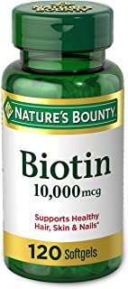 Biotin by Nature's Bounty, Vitamin Supplement, Supports Metabolism for Energy and Healthy Hair, Skin, and Nails, 10000 mcg...