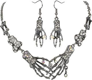 Szxc Women's Skeleton Hand & Bone Jewelry Set - Bib Necklace (18+2) Inch + Dangle Earrings (2 Inch) - Lead & Nickle Free -...