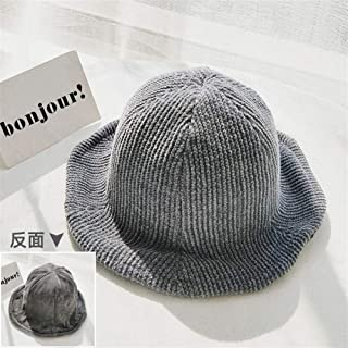 SHENTIANWEI Double-Sided hat Autumn and Winter Female Casual Street Wild Chenille Bucket Hats Warm hat Korean Japanese Literary Tide (Color : Grey, Size : One Size)