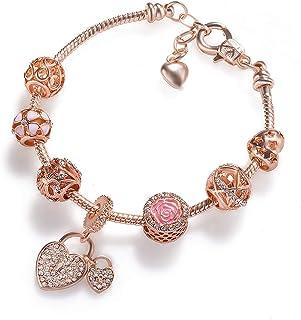 DYD Infinity Women's Infinity Heart Knot Rose-Gold Tone Finish Bangle Bracelet Adjustable Valentine's Day Jewelry Gift Bir...