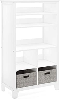 Martha Stewart Living and Learning Kids' Tall Bookcase (White) – 48 Inch Wooden Storage Organizer Cubby with Fabric Bins for