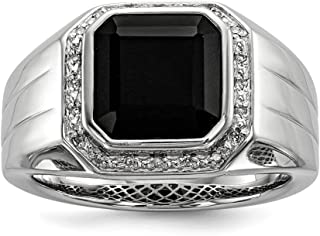 925 Sterling Silver Rhod Plated Diamond Black Onyx Square Mens Band Ring Man Fine Jewelry Dad Mens Gift Set