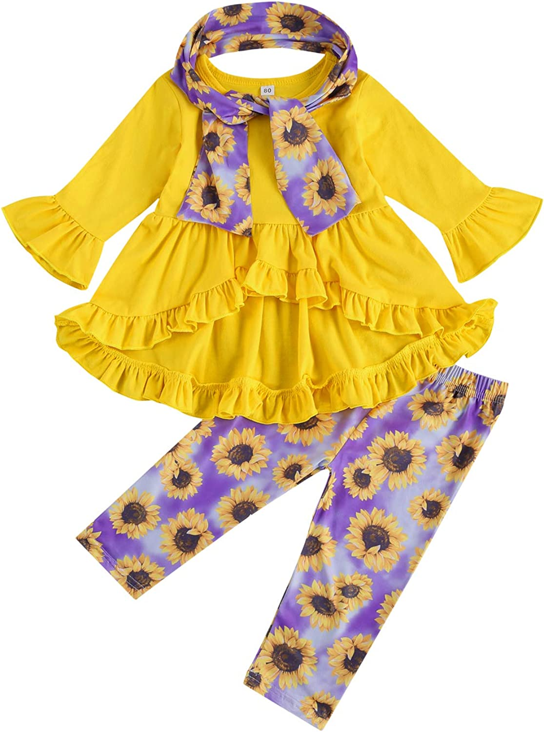 Toddler Baby Girl Fall Clothes Ruffle Long Sleeve Dovetail Dress