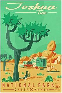 "Joshua Tree National Park Giclee Art Print Poster from Original Travel Artwork by Travel Artist Benjamin W. Burch 12"" x 18"""