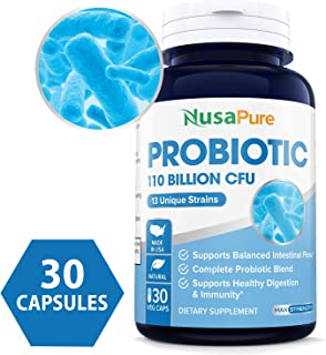 Probiotics 110 Billion CFU Per Veggie Caps 13 Strains - 30 Capsules (Non-GMO & Gluten Free) Supports Healthy Digestion and Gut Bacteria Balance