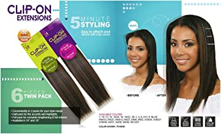 BOBBI BOSS 100% Human Hair CLIP-ON Extensions - Instant Length & Volume - 6 Pieces Single Pack - 14