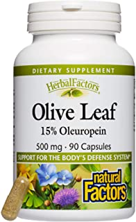 HerbalFactors by Natural Factors, Olive Leaf 500 mg, Supports the Body's Natural Defense Systems, 90 capsules (90 servings)