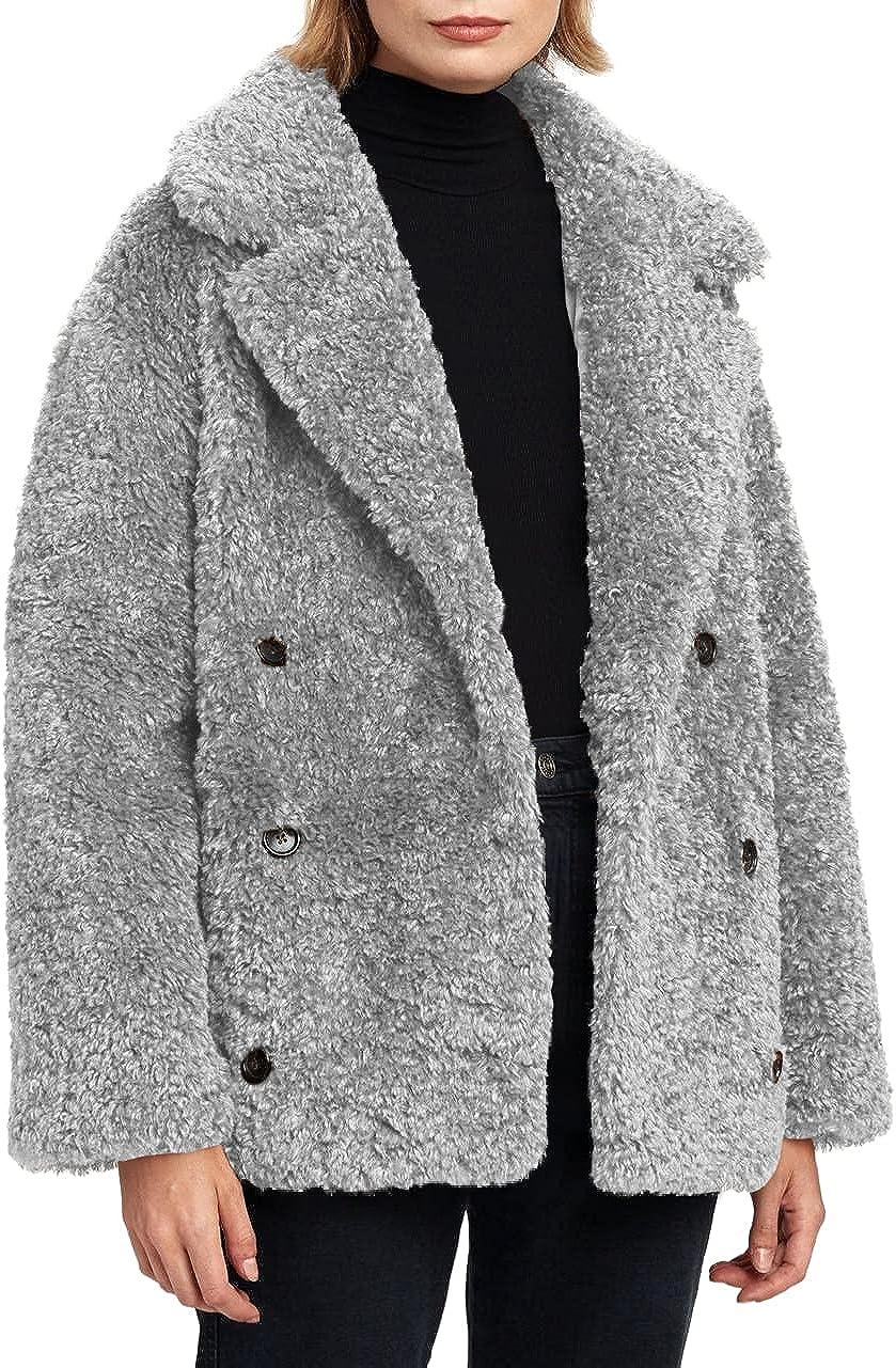 Grlasen Women's Fashion Faux Fur Coat Fuzzy Teddy Winter Open Front Long Cardigan Coat Outwear