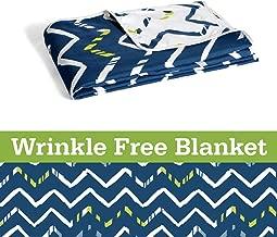 Divine Casa Natty Geometric Polyester Single Blanket - White and Twilight Blue, 55 x 82 inch