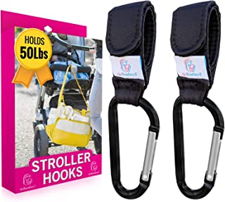 Stroller Hooks - Set of 2 Mom Hook Stroller Straps and Carabiners - Durable Clips Hold 50lbs for Hands Free Diaper Bag Storage So You Can Care for Your Baby - Perfect Christmas Gifts