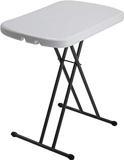Lifetime 80251 Adjustable Folding Laptop Table TV Tray, 26 Inch, White Granite