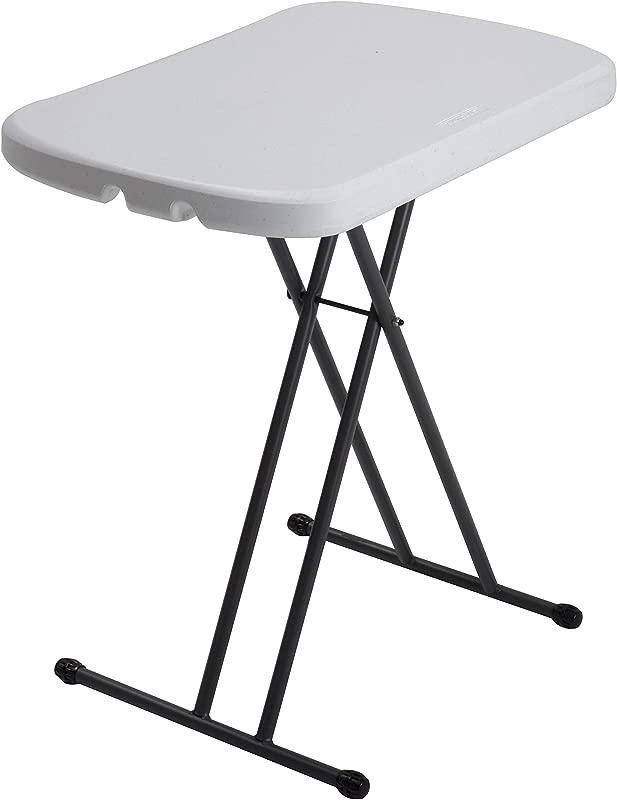Lifetime 80251 Adjustable Folding Laptop Table TV Tray 26 Inch White Granite