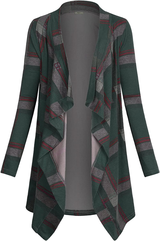 Miusey Women's Casual Plaid Print Sweater Long Sleeve Drape Open Front Knit Cardigan