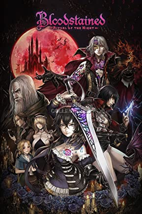 """PremiumPrintsG - Bloodstained Ritual of The Night PS4 Xbox ONE Switch Poster - XNVG155 Premium Canvas 11"""" x 17"""" (28 cm x 43 cm)"""