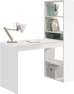 Habitdesign Mesa de Ordenador PC o Escritorio con Estanteria Reversible, Blanco Artik, Modelo Duplo, Medidas: 120 cm (Anch...