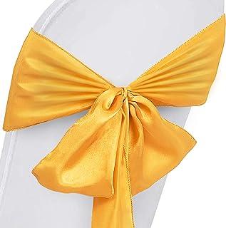 Moracle Satin Oder Stretch Stuhlabdeckung Bogen Schärpe 100 Stück Dekoration Stuhlabdeckung Schärpe Positive rote Stühle Zurück Krawattenbänder für Hochzeitsbankett Party Feiern (Gold Satin)