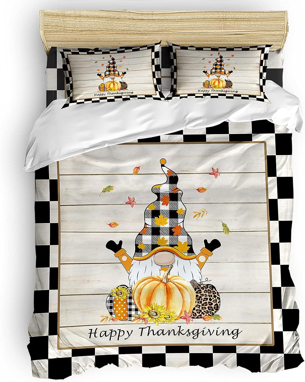 Bedding Duvet Cover Bargain sale 4 Piece Happy Set Trust Pumpkin Thanksgiving Gnome