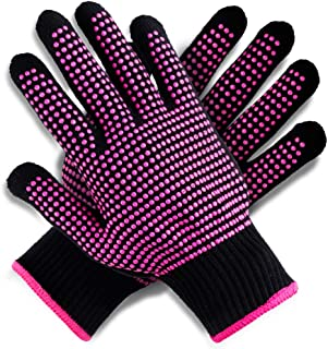 Teenitor 2 Pack Heat Resistant Gloves With Silicone Bumps, (New Upgraded) Professional Heat Proof Glove Mitts For Hair Styling Curling Iron Wand Flat Iron Hot-Air Brushes, Universal Fit Size