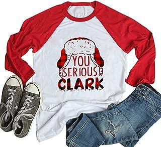 You Serious Clark Raglan Baseball T Shirt Women Buffalo Plaid Christmas Hat Graphic Tees 3 4 Sleeve Tops