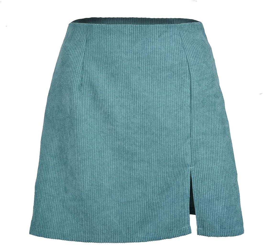 Fulision Women Outdoor High Waist Solid Color Casual Irregular Slit Mini Skirt