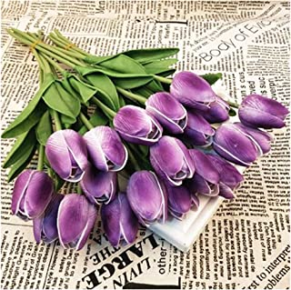 SHINE-CO LIGHTING PU Real Touch Fake Tulips Artificial Flowers 10 Pcs Flower Arrangement Bouquet for Home Office Wedding Decoration (Purple)