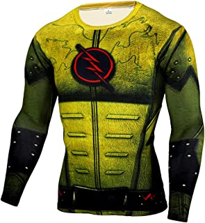 Dri Fit The Flash Workout Tee Shirt Long Sleeve Mens Superhero compression Top