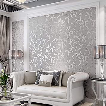 3d Decorative Wallpaper For Bedroom Matte Silver Flower Wall Paper Metallic Wallpaper For Kitchen Decoration And Tv Background In The Living Room Amazon Com