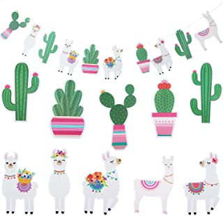 Llama Cactus Banner Garland Party Decorations Fiesta Theme Party Supplies for Hawaii Children Party