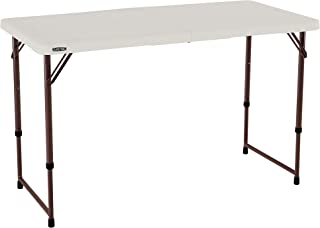 Lifetime 4432 4-Foot Fold-In-Half Adjustable Folding Table with 48-by-24-Inch Molded Top, Almond