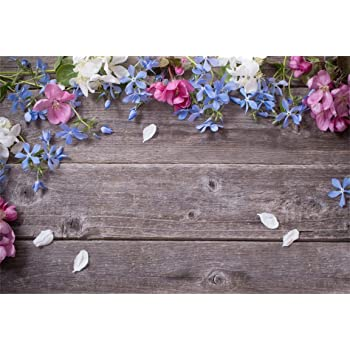 Small Blue Flowers and Primary Color Wooden Boards Wedding Baby Photography Background Custom Photography Studio Photography Background