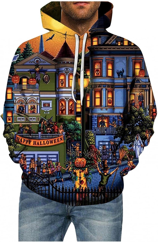 Aayomet Men's Halloween Hoodies Evil Pumpkin Printed Hoodies Tops Long Sleeves Hooded Kanga Pocket Sweatshirts