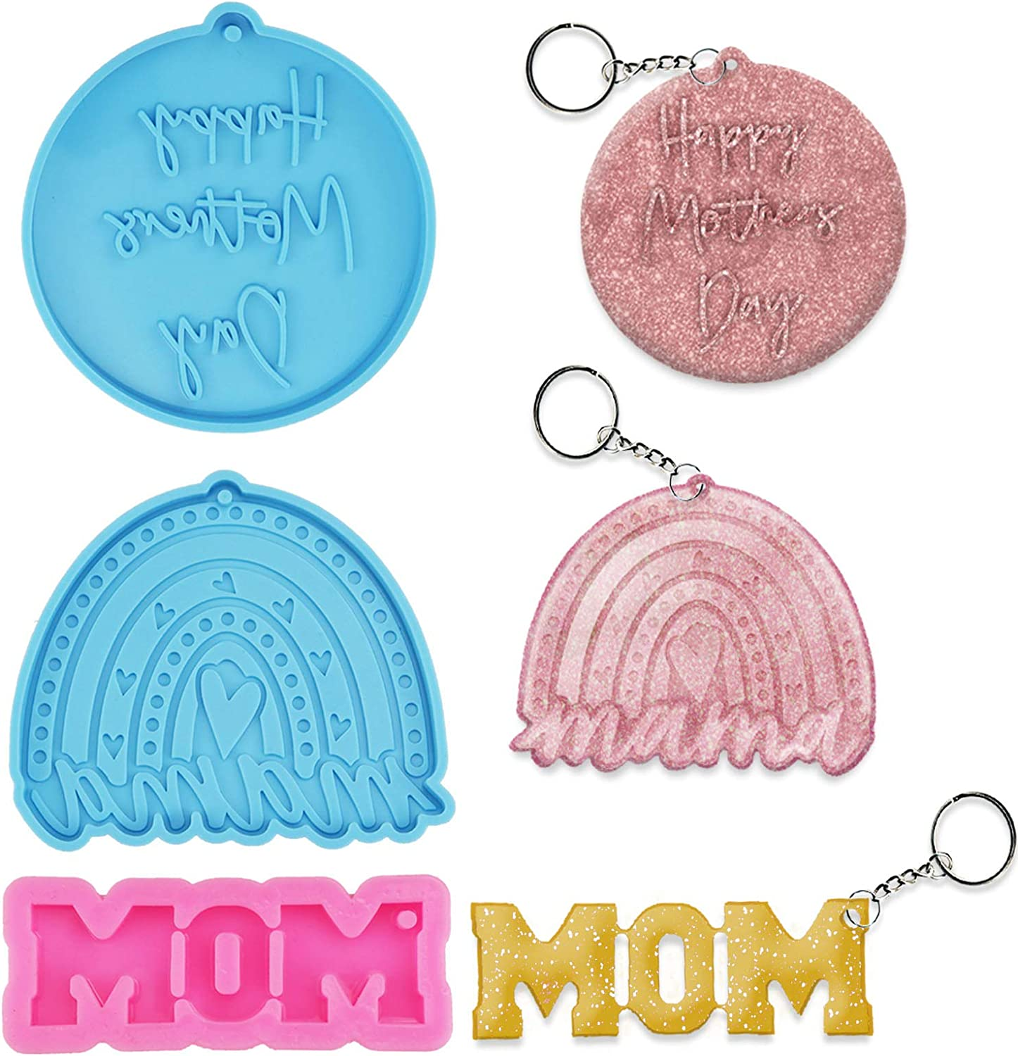 Deokke 3 Super-cheap Max 82% OFF shape MOM DAD Keychain Mom DIY for Resin Silicone Molds