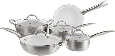 Oster Montecielo 9pc Aluminum Cookware Set, Metallic Titanium, 9 Piece
