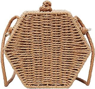 Women's Straw Rattan Crossbody Bag Circle Boho Handbag Beach Bags Clutch Purse (Khaki)