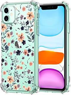 Oihxse Shockproof Case Compatible for iPhone 11 Clear Back with Design, Soft Silicone TPU Ultra Thin Slim Fit Chic [Air Cushion] Corners Protection Crystal Transparent Cover(Floral)