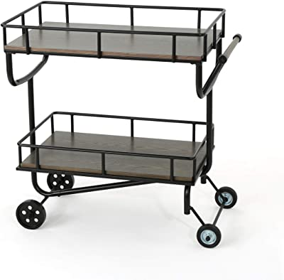 Christopher Knight Home Lavinia Industrial Faux Wood Bar Cart with Iron Frame, Grey / Black