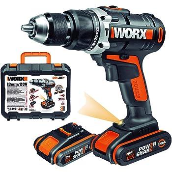 WORX WX372 Akku Schlagbohrschrauber Set mit 20V Schlagbohrschrauber, 2 Li-Ion Akkus, Schnell-Ladegerät, Doppelbit & Koffer / 50Nm, 2-Gang-Getriebe & LED-Licht - zum Schrauben, Bohren & Schlagbohren