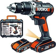 Worx WX372 - Taladro percutor compacto de 20 V, 2,0 Ah, 50 Nm, con 2 baterías de 2.0Ah