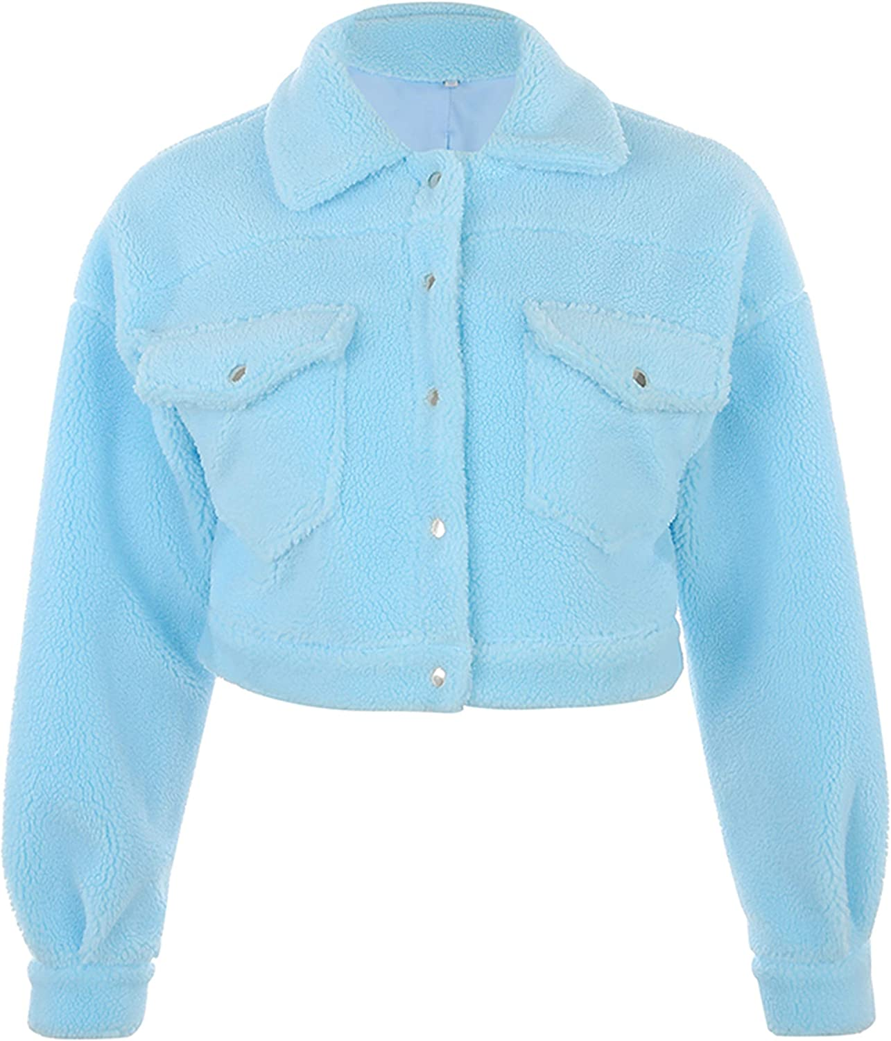 Uaneo Womens Casual Sherpa Button Down Long Sleeve Cropped Trucker Jacket Coat(Blue-M)
