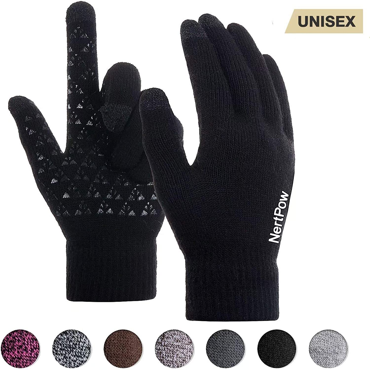 Winter Gloves For Men And Women, Warm Knit Touch Screen Texting Anti-Slip Thermal Gloves With Wool Lining (Black-L)