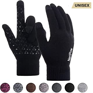 Winter Gloves For Men And Women, Warm Knit Touch Screen Texting Anti-Slip Thermal Gloves With Wool Lining