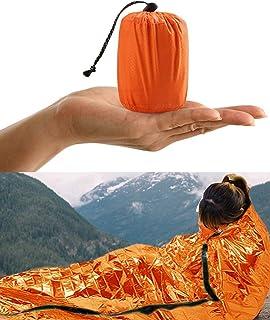 HONYAO Saco de Emergencia Dormir, Supervivencia Bivvy Manta, Impermeable Aislamiento Térmico Albergue, Brillante Naranja, Ligero y Reutilizable para Acampar Supervivencia Al Aire Libre