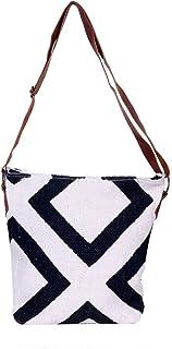 IndiWeaves Women Vintage Handmade Kilim Leather Handle Cross Body Sling Bag