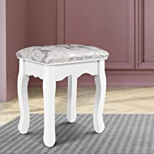 Artiss Dressing Vanity Stool Fabric Makeup Chair - White